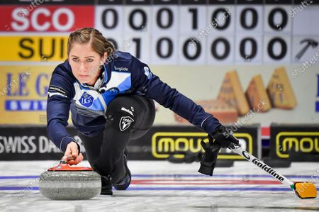 Scotland's skip Eve Muirhead in action during the Women's semifinal between Scotland and Switzerland at the European Curling Championships in Helsingborg, Sweden, on 22 November 2019.