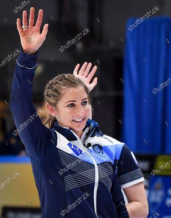 Scotland's skip Eve Muirhead celebrates winning the Women's semifinal between Scotland and Switzerland at the European Curling Championships in Helsingborg, Sweden, on 22 November 2019.