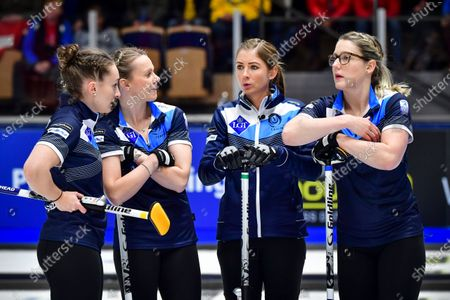 Scotland's team (L-R) Jennifer Dodds, skip  Eve Muirhead, Victoria Wright and Lauren Gray during the Women's semifinal between Scotland and Switzerland at the European Curling Championships in Helsingborg, Sweden, on 22 November 2019.