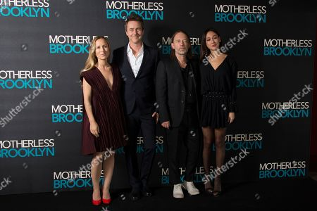 Stock Photo of Edward Norton, Thom Yorke, Shauna Robertson, Dajana Roncione. Canadian film producer Shauna Robertson, from left to right, wife of actor Edward Norton, musician and composer Thom Yorke and his partner Dajana Roncione, pose for photographers upon arrival at a photo call for 'Motherless Brooklyn', ahead of a Q&A and Jazz performance at at Jack Solomons Club in Soho, central London