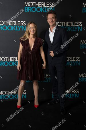 Edward Norton, Shauna Robertson. Actor Edward Norton and his wife Canadian film producer Shauna Robertson, pose for photographers upon arrival at a photo call for 'Motherless Brooklyn', ahead of a Q&A and Jazz performance at at Jack Solomons Club in Soho, central London