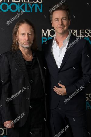 Edward Norton, Thom Yorke. Musician and composer Thom Yorke, left alongside actor Edward Norton, as they pose for photographers upon arrival at a photo call for 'Motherless Brooklyn', ahead of a Q&A and Jazz performance at Jack Solomons Club in Soho, central London