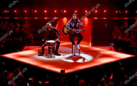 Stock Image of Rea Garvey (R) performs during the International Music Award (IMA) 2019 in Berlin, Germany, 22 November 2019. The IMA recognizes the efforts of artists to share their work with a statement independently of the commercial success.