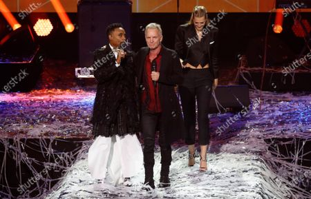 Billy Porter, Sting and Toni Garrn on stage during the International Music Award (IMA) 2019 in Berlin, Germany, 22 November 2019. The IMA recognizes the efforts of artists to share their work with a statement independently of the commercial success.
