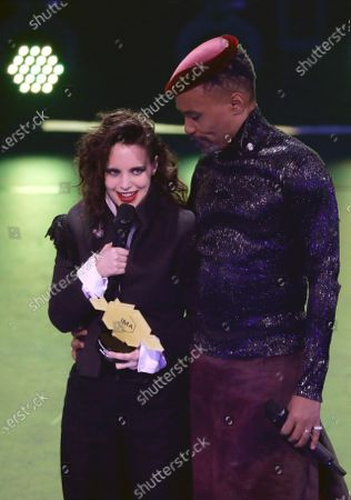 Stock Picture of Anna Calvi (L) holds her award in the category 'Sound' next to Billy Porter during the International Music Award (IMA) 2019 in Berlin, Germany, 22 November 2019. The IMA recognizes the efforts of artists to share their work with a statement independently of the commercial success.