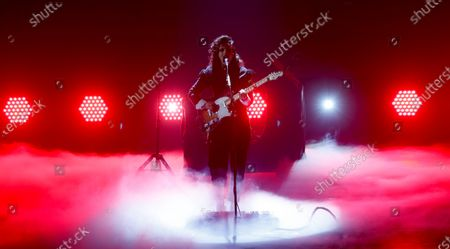 British singer-singwriter Anna Calvi performs during the International Music Award (IMA) 2019 in Berlin, Germany, 22 November 2019. The IMA recognizes the efforts of artists to share their work with a statement independently of the commercial success.