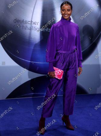 German model Sara Nuru attends the German Sustainability Award 'Deutscher Nachhaltigkeitspreis' at Maritim Hotel in Duesseldorf, Germany, 22 November 2019.