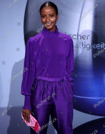 Stock Photo of German model Sara Nuru attends the German Sustainability Award 'Deutscher Nachhaltigkeitspreis' at Maritim Hotel in Duesseldorf, Germany, 22 November 2019.