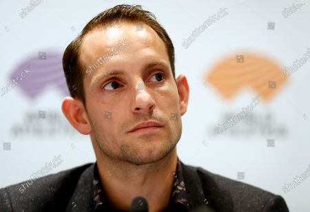 Athletes Commission of World Athletics president Renaud Lavillenie of France attends a press conference of the IAAF Council meeting in Monaco, 22 November 2019. 