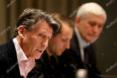 IAAF president Sebastian Coe of Britain (L), Athletes Commission of World Athletics president Renaud Lavillenie of France (C) and IAAF Taskforce independent chairperson Rune Andersen of Norway (R) attend a press conference of the IAAF Council meeting in Monaco, 22 November 2019.
