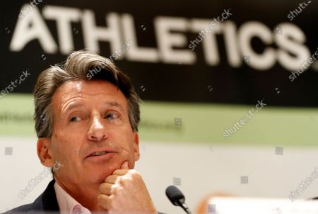 IAAF president Sebastian Coe of Britain speaks during a press conference of the IAAF Council meeting in Monaco, 22 November 2019.