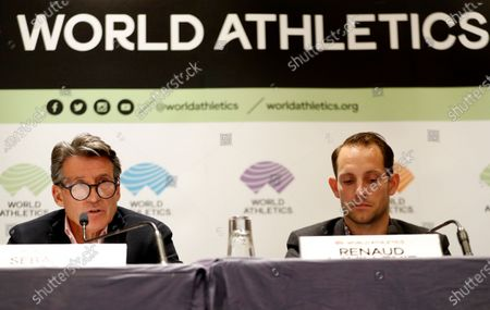 Stock Photo of IAAF president Sebastian Coe of Britain (L) and Athletes Commission of World Athletics president Renaud Lavillenie of France (R) attend a press conference of the IAAF Council meeting in Monaco, 22 November 2019. 