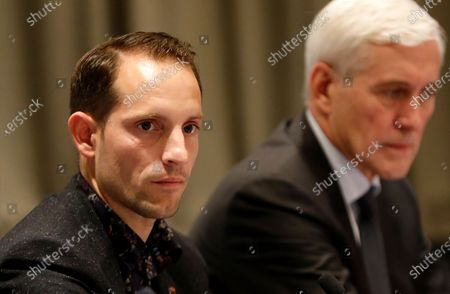 Athletes Commission of World Athletics president Renaud Lavillenie of France (L) and IAAF Taskforce independent chairperson Rune Andersen of Norway (R) attend a press conference of the IAAF Council meeting in Monaco, 22 November 2019.