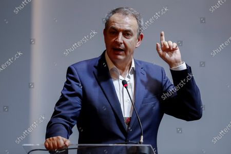 Former Spanish Prime Minister Jose Luis Rodriguez Zapatero speaks during a conference on democracy held in the framework of the seventh National Congress of the opposition Workers Party (PT), in Sao Paulo, Brazil, 22 November 2019. Zapatero called on Friday in Sao Paulo for the unity of the Latin American left to denounce the situation that Bolivia is going through after the resignation of Evo Morales, which he described as a 'coup d'etat'.