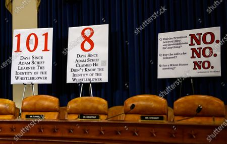 Republican signage prior to Dr. Fiona Hill, former Senior Director for Europe and Russia, National Security Council (NSC), and David A. Holmes, Political Counselor, United States Embassy in Kiev, Ukraine, on behalf of US Department of State, giving testimony