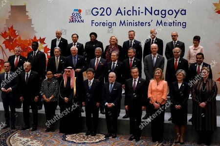 Participants of the G20. Foreign Ministers meeting pose for a family photo during the G20 foreign ministers meeting, in Nagoya, Japan. Front from left are Germany's Foreign Minister Heiko Maas, Turkey's Foreign Minister Mevlut Cavusoglu, Indonesia's Foreign Minister Retno Marsudi, Saudi's Foreign Minister Prince Faisal bin Farhan, Japan's Foreign Minister Toshimitsu Motegi, Argentina's Foreign Secretary Jorge Faurie, China's Foreign Minister Wang Yi, European Union Foreign Policy chief Federica Mogherini, South Korea's Foreign Minister Kang Kyung-wha and Australia's Foreign Minister Marise Payne. Middle from left are U.S. Deputy Secretary of State John Sullivan, Senegal's Foreign Minister Amadou Ba, New Zealand's Deputy Prime Minister and Minister for Foreign Affairs Winston Peters, Spain's Foreign Minister Josep Borrell, India's Foreign Minister Subrahmanyam Jaishankar, Canada's Minister of Foreign Affairs Francois-Philippe Champagne, Singapore's Foreign Minister Vivian Balakrishnan, Dutch Foreign Minister Stef Blok, Chile's Foreign Minister Teodoro Ribera, United Kingdom's Minister for the Commonwealth, the UN and South Asia Tariq Ahmad. Back from left are Ambassador of Egypt to Japan Ayman Aly Kamel, Vietnam's Vice Foreign Minister Bui Thanh Son, South Africa's Deputy Minister of International Relations and Cooperation Candith Mashego-Dlamini, Italy's Deputy Foreign Minister Emanuela Claudia Del Re, Frence's Minister of State attached to the Minister for Europe and Foreign Affairs Jean-Baptiste Lemoyne, Mexico's Deputy Secretary of Foreign Affairs Julian Ventura Valero, Brazil's Secretary for Commercial and Economic Foreign Policy Norberto Moretti, and Thailand's Advisor to Foreign Minister Pornpimol Kanchanalak