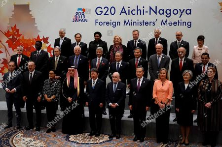 Stock Picture of Participants of the G20 Foreign Ministers meeting pose for a family photo during the G20 foreign ministers meeting, in Nagoya, Japan. Front from left are Germany's Foreign Minister Heiko Maas, Turkey's Foreign Minister Mevlut Cavusoglu, Indonesia's Foreign Minister Retno Marsudi, Saudi's Foreign Minister Prince Faisal bin Farhan, Japan's Foreign Minister Toshimitsu Motegi, Argentina's Foreign Secretary Jorge Faurie, China's Foreign Minister Wang Yi, European Union Foreign Policy chief Federica Mogherini, South Korea's Foreign Minister Kang Kyung-wha and Australia's Foreign Minister Marise Payne. Middle from left are U.S. Deputy Secretary of State John Sullivan, Senegal's Foreign Minister Amadou Ba, New Zealand's Deputy Prime Minister and Minister for Foreign Affairs Winston Peters, Spain's Foreign Minister Josep Borrell, India's Foreign Minister Subrahmanyam Jaishankar, Canada's Minister of Foreign Affairs Francois-Philippe Champagne, Singapore's Foreign Minister Vivian Balakrishnan, Dutch Foreign Minister Stef Blok, Chile's Foreign Minister Teodoro Ribera, United Kingdom's Minister for the Commonwealth, the UN and South Asia Tariq Ahmad. Back from left are Ambassador of Egypt to Japan Ayman Aly Kamel, Vietnam's Vice Foreign Minister Bui Thanh Son, South Africa's Deputy Minister of International Relations and Cooperation Candith Mashego-Dlamini, Italy's Deputy Foreign Minister Emanuela Claudia Del Re, Frence's Minister of State attached to the Minister for Europe and Foreign Affairs Jean-Baptiste Lemoyne, Mexico's Deputy Secretary of Foreign Affairs Julian Ventura Valero, Brazil's Secretary for Commercial and Economic Foreign Policy Norberto Moretti, and Thailand's Advisor to Foreign Minister Pornpimol Kanchanalak