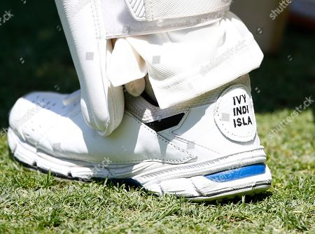 Stock Picture of Australia's David Warner has the names of his daughters Ivy Mae, 5, Indy Rae, 3, and Isla Rose, 5 months, embroidered on his shoes as his inspiration during their cricket test match against Pakistan in Brisbane, Australia