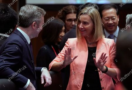 European Union Foreign Policy Chief Federica Mogherini (L) talks with French Minister of State attached to the Minister for Europe and Foreign Affairs Jean-Baptiste Lemoyne (L) during the first plenary session of the G20 Foreign Ministers' meeting in Nagoya, Japan, 23 November 2019. The foreign ministers meeting of the Group of 20 major economies will take place on 22 and 23 November.