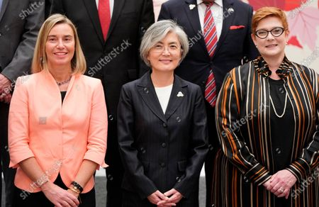 European Union Foreign Policy Chief Federica Mogherini (L), South Korea's Foreign Minister Kang Kyung-wha (C) and Australian Foreign Minister Marise Payne (R) pose during a family photo at the G20 Foreign Ministers' meeting in Nagoya, Japan, 23 November 2019. The foreign ministers meeting of the Group of 20 major economies will take place on 22 and 23 November.