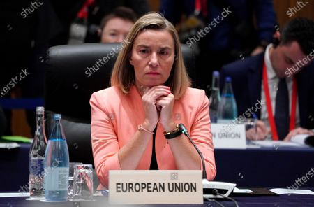 European Union Foreign Policy Chief Federica Mogherini attends the first plenary session of the G20 Foreign Ministers' meeting in Nagoya, Japan, 23 November 2019. The foreign ministers meeting of the Group of 20 major economies will take place on 22 and 23 November.