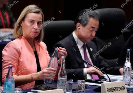European Union Foreign Policy Chief Federica Mogherini (L) attends the first plenary session of the G20 Foreign Ministers' meeting in Nagoya, Japan, 23 November 2019. The foreign ministers meeting of the Group of 20 major economies will take place on 22 and 23 November.