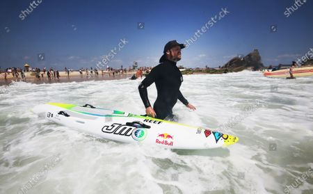 Three time World Surfing champion Mick Fanning joins in demonstrations at Currumbin, on the Gold Coast, Australia, 23 November 2019. Protests were held around Australia in opposition to plans for Norwegian oil company Equinor to drill in the waters of the Great Australian Bight.