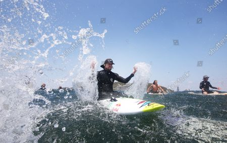 Stock Picture of Three time World Surfing champion Mick Fanning joins in demonstrations at Currumbin, on the Gold Coast, Australia, 23 November 2019. Protests were held around Australia in opposition to plans for Norwegian oil company Equinor to drill in the waters of the Great Australian Bight.