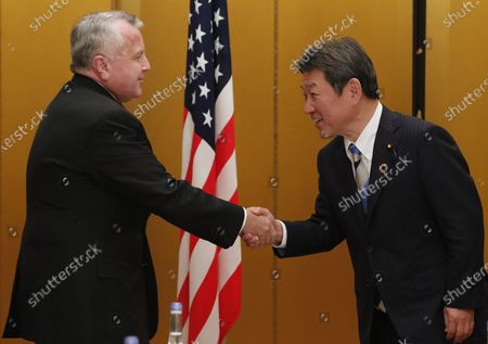 US Deputy Secretary of State John Sullivan (L) meets Japanese Foreign Minister Toshimitsu Motegi (R) for a bilateral during the G20 Aichi-Nagoya Foreign Ministers' meeting in Nagoya, Japan, 23 November 2019. The foreign ministers meeting of the Group of 20 major economies will take place on 22 and 23 November.