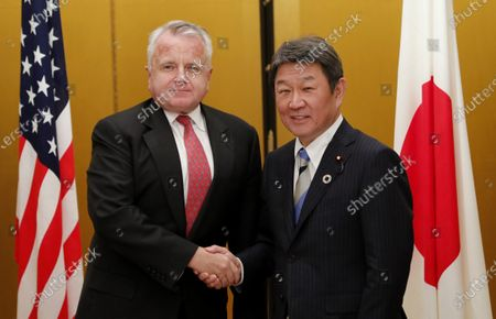 Stock Image of US Deputy Secretary of State John Sullivan (L) meets Japanese Foreign Minister Toshimitsu Motegi (R) for a bilateral during the G20 Aichi-Nagoya Foreign Ministers' meeting in Nagoya, Japan, 23 November 2019. The foreign ministers meeting of the Group of 20 major economies will take place on 22 and 23 November.