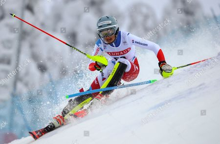 Switzerland's Selina Egloff competes during an alpine ski, women's slalom in Levi, Finland