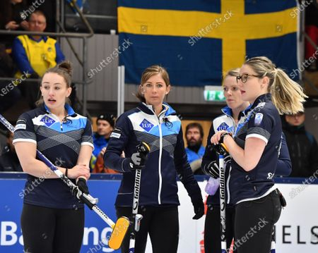 Scotland's Jennifer Dodds, Eve Muirhead, Victoria Wright and Lauren Gray during the Women's final match between Scotland and Sweden at the European Curling Championships in Helsingborg, Sweden, 23 November 2019.
