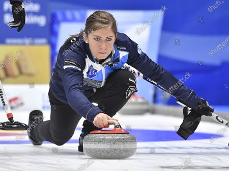 Scotland's Eve Muirhead in action during the Women's final match between Scotland and Sweden at the European Curling Championships in Helsingborg, Sweden, 23 November 2019.