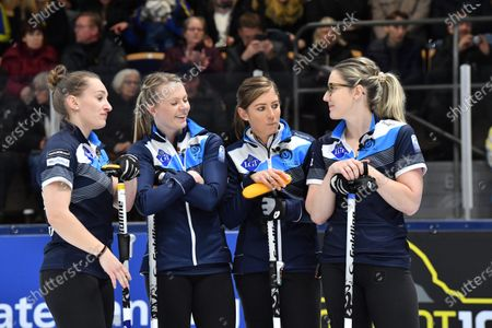 Stock Picture of Scotland's Jennifer Dodds,Victoria Wright, Eve Muirhead and Lauren Gray during the Women's final match between Scotland and Sweden at the European Curling Championships in Helsingborg, Sweden, 23 November 2019.