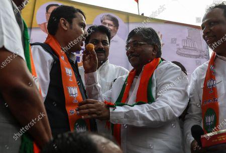 Editorial image of BJP celebration in Mumbai, India - 23 Nov 2019