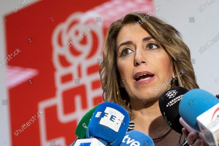 Andalucia Socialist Party leader, Susana Diaz speaks to the media during the voting on the formation of a coalition government with Unidas Podemos, in Sevilla, Andalucia, Spain on 23 November 2019.