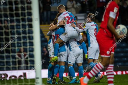 Stock Image of Lewis Holtby of Blackburn Rovers celebrating his team's first goal during the EFL Sky Bet Championship match between Blackburn Rovers and Barnsley at Ewood Park, Blackburn