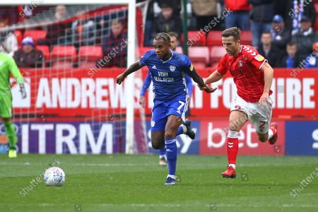 Leandro Bacuna of Cardiff City takes on  Adam Matthews of Charlton Athletic