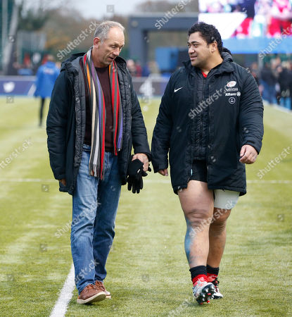 Stock Picture of Titi Lamositele (right) of Saracens with coach Brendan Venter