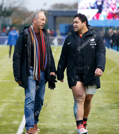 Stock Image of Titi Lamositele (right) of Saracens with coach Brendan Venter