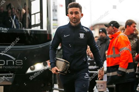 Sean Maguire arrives for the EFL Sky Bet Championship match between Derby County and Preston North End at the Pride Park, Derby