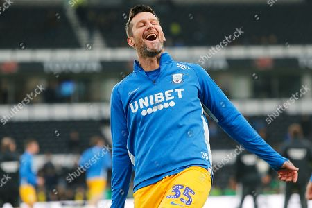 David Nugent laughs before the EFL Sky Bet Championship match between Derby County and Preston North End at the Pride Park, Derby