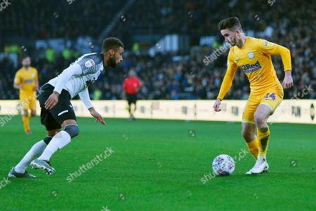 Sean Maguire takes on Jayden Bogle during the EFL Sky Bet Championship match between Derby County and Preston North End at the Pride Park, Derby