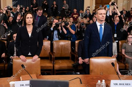 Fiona Hill, former official at the National Security Council specialising in the former Soviet Union and Russian and European affairs, and David Holmes, U.S. Department of State official who serves as a counsellor for political affairs at the U.S. Embassy in Ukraine