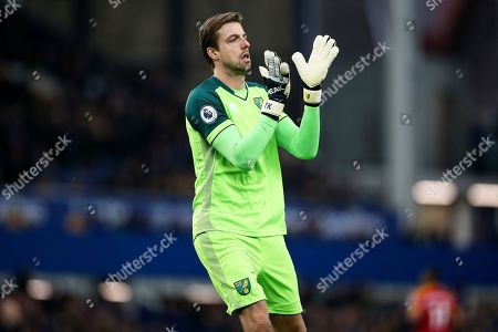 Norwich City goalkeeper Tim Krul (1) during the Premier League match between Everton and Norwich City at Goodison Park, Liverpool