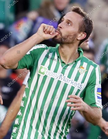 Betis' midfielder Sergio Canales celebrates after scoring the 2-1 during the Spanish LaLiga soccer match between Real Betis and Valencia CF at Benito Villamarin stadium in Seville, Andalusia, Spain, 23 November 2019.