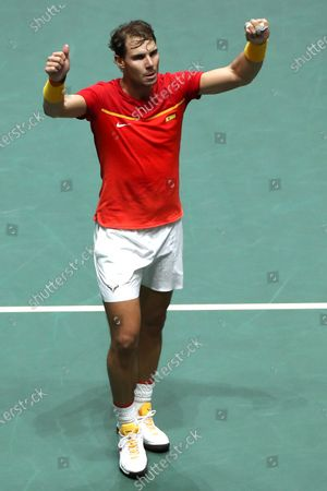 Spanish tennis player Rafa Nadal celebrates after defeating Britain Daniel Evans after the second match of the Davis Cup's semifinal between Spain and Great Britain at Caja Magica stadium in Madrid, Spain on 23 November 2019.
