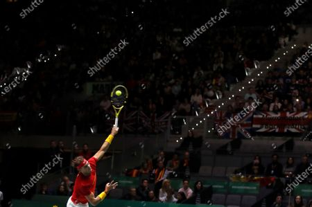 Spanish tennis player Rafa Nadal in action against Britain Daniel Evans during the second match of the Davis Cup's semifinal between Spain and Great Britain at Caja Magica stadium in Madrid, Spain on 23 November 2019.