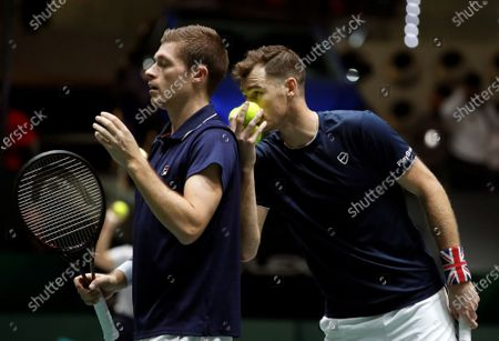 British Jamie Murray (R) and Neal Skupski (L) in action against Spanish Rafa Nadal and Feliciano Lopez during the third double match of the Davis Cup's semifinal between Spain and Great Britain at Caja Magica stadium in Madrid, Spain on 23 November 2019.