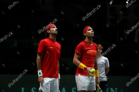 Spanish tennis players Rafa Nadal (R) and Feliciano Lopez (L) in action against British Jamie Murray and Neal Skupski during the third double match of the Davis Cup's semifinal between Spain and Great Britain at Caja Magica stadium in Madrid, Spain on 23 November 2019.